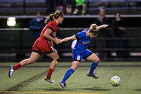 Seattle, WA - Saturday, May 14, 2016: Seattle Reign FC midfielder Kim Little (8) and Portland Thorns FC midfielder Lindsey Horan (7). The Portland Thorns FC and the Seattle Reign FC played to a 1-1 tie during a regular season National Women's Soccer League (NWSL) match at Memorial Stadium.