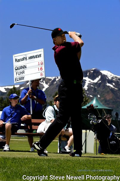John Elway teeing off at the American Century Celebrity Golf Tournament in Lake Tahoe.  I covered this event several times for the local newspaper and the San Francisco Examiner's website.