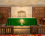 Green cloth on altar in sanctuary inside the abbey church Malmesbury, Wiltshire, England, Uk