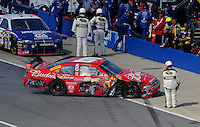 Oct 5, 2008; Talladega, AL, USA; NASCAR Sprint Cup Series driver Kasey Kahne heads to the garage after crashing during the Amp Energy 500 at the Talladega Superspeedway. Mandatory Credit: Mark J. Rebilas-