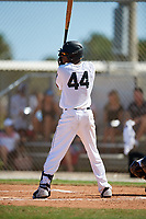 Damone Hale during the WWBA World Championship at the Roger Dean Complex on October 20, 2018 in Jupiter, Florida.  Damone Hale is an outfielder from Inglewood, California who attends Junipero Serra High School and is committed to Michigan.  (Mike Janes/Four Seam Images)