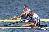 Sarasota. Florida USA. Men's Single Sculls. Gold Medalist, CZE M1X. SYNEK, Ondrej, and CRO M1X Damir MARTIN. Sunday Final's Day at the  2017 World Rowing Championships, Nathan Benderson Park<br /> <br /> Sunday  01.10.17   <br /> <br /> [Mandatory Credit. Peter SPURRIER/Intersport Images].<br /> <br /> <br /> NIKON CORPORATION -  NIKON D4S  lens  VR 500mm f/4G IF-ED mm. 200 ISO 1/640/sec. f 8