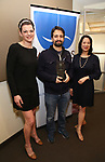 Actors Equity Association President Kate Shindle and Christine Toy Johnson with Lin-Manuel Miranda Recipient of the 2018 Rosetta LeNoire Award at Actors' Equity Office on April 23, 2018 in New York City.