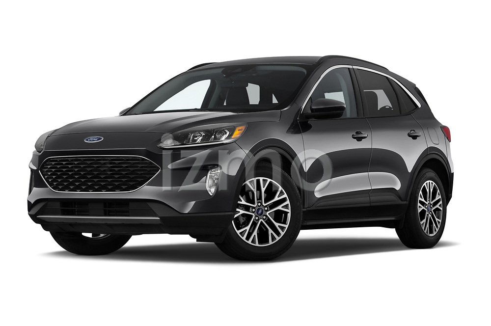 Stock pictures of low aggressive front three quarter view of a 2020 Ford Escape SEL 5 Door SUV