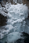 Frozen waterfall in Johnston Canyon in Canada
