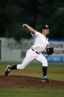 July 7th 2008:  Pitcher Anthony Shawler of the Oneonta Tigers, Class-A affiliate of Detroit Tigers, during a game at Damaschke Field in Oneonta, NY.  Photo by:  Mike Janes/Four Seam Images