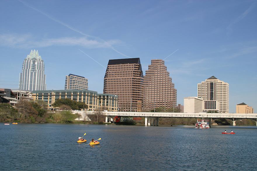 Perfect clear sunny day for canoeing and kyaking on Town Lake in Austin.