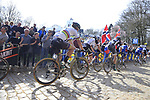 The peloton including World Champion Peter Sagan (SVK) Bora-Hansgrohe tackle the famous cobbled climb of Kemmelberg during Gent-Wevelgem in Flanders Fields 2017 running 249km from Denieze to Wevelgem, Flanders, Belgium. 26th March 2017.<br /> Picture: Eoin Clarke | Cyclefile<br /> <br /> <br /> All photos usage must carry mandatory copyright credit (&copy; Cyclefile | Eoin Clarke)