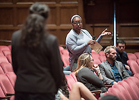 Students, faculty and staff listen and participate in the nationally-acclaimed play, DEFAMATION, a riveting courtroom drama that explores the highly charged issues of race, religion, gender, class and the law with a twist: the audience is the jury. More than a play, DEFAMATION is a unique opportunity for our community to engage in discourse about the most pressing social issues of our day. Sponsored by the Office of Community Engagement. Feb. 16, 2017 in Thorne Auditorium.<br /> (Photo by Marc Campos, Occidental College Photographer)