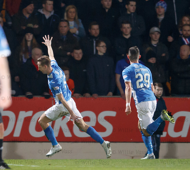 Steven MacLean takes the ball around Wes Foderingham to score and celebrates