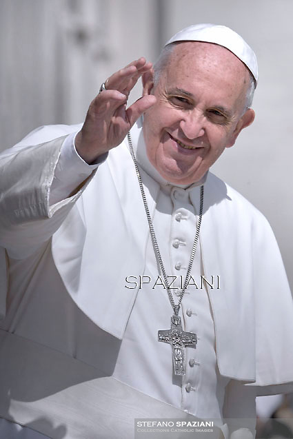 Pope Francis  during his weekly general audience in St. Peter square at the Vatican, Wednesday. 15 April 2015