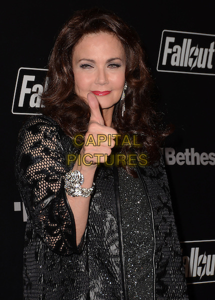 05 November - Los Angeles, Ca - Lynda Carter. Arrivals for the official launch party of the video game &quot;Fallout 4&quot; held at a private location in Downtown LA.  <br /> CAP/ADM/BT<br /> &copy;BT/ADM/Capital Pictures