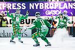Stockholm 2014-03-05 Bandy SM-semifinal 3 Hammarby IF - V&auml;ster&aring;s SK :  <br /> Hammarbys Jonas Enander jublar med Hammarbys David Pizzoni Elfving och Hammarbys Markus Kumpuoja efter att ha gett Hammarby ledningen med 3-2 i den andra halvleken<br /> (Foto: Kenta J&ouml;nsson) Nyckelord:  VSK Bajen HIF jubel gl&auml;dje lycka glad happy