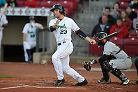 Cedar Rapids Kernels Max Murphy (23) swings during the game against the Clinton LumberKings  at Veterans Memorial Stadium on April 14, 2016 in Cedar Rapids, Iowa.  The Kernels won 7-3.  (Dennis Hubbard/Four Seam Images)