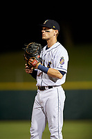New Orleans Baby Cakes first baseman Matt Snyder (33) during a Pacific Coast League game against the Oklahoma City Dodgers on May 6, 2019 at Shrine on Airline in New Orleans, Louisiana.  New Orleans defeated Oklahoma City 4-0.  (Mike Janes/Four Seam Images)