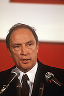 Ottawa, Canada, February 18, 1980. Canadian Prime Minister Pierre Trudeau campaigns ahead of the legislative elctions on May 22.  Joseph Philippe Pierre Yves Elliott Trudeau, (October 18, 1919 - September 28, 2000), was the 15th Prime Minister of Canada from April 20, 1968 to June 4, 1979, and again from March 3, 1980 to June 30, 1984.