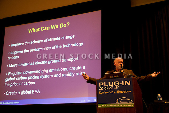 Peter Schwartz, Cofounder and Chairman, Global Business Network. Opening day of the July 22-24 inaugural Plug-In 2008 Conference & Exposition: A Short Drive to Tomorrow in San Jose, CA. The event showcases the latest technological advances, market research and policy initiatives shaping the future of plug-in hybrid electric vehicles (PHEVs). Original photo is high-resolution (4368 x 2912 pixels).