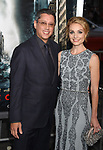HOLLYWOOD, CA - OCTOBER 16: Director/writer/producer Dean Devlin (L) and actress Lisa Brenner attend the premiere of Warner Bros. Pictures' 'Geostorm' at the TCL Chinese Theatre on October 16, 2017 in Hollywood, California.