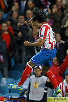 19.04.2012 MADRID, SPAIN - UEFA Europa League 11/12 Semi Finals match played between At. Madrid vs Valencia (4-2) at Vicente Calderon stadium. the picture show Radamel Falcao Garcia (Colombian striker of At. Madrid) celebrating his team's goal