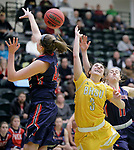 SPEARFISH, SD: DECEMBER 30:  Molly Rohrer #42 of CSU Pueblo blocks the shot of Julia Seamans  #3 of Black Hills State during their game Saturday evening at the Donald E. Young Center in Spearfish, S.D.   (Photo by Dick Carlson/Inertia