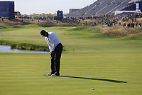 Tiger Woods (Team USA) putts on the 10th green during Saturday's Foursomes Matches at the 2018 Ryder Cup 2018, Le Golf National, Ile-de-France, France. 29/09/2018.<br /> Picture Eoin Clarke / Golffile.ie<br /> <br /> All photo usage must carry mandatory copyright credit (© Golffile | Eoin Clarke)
