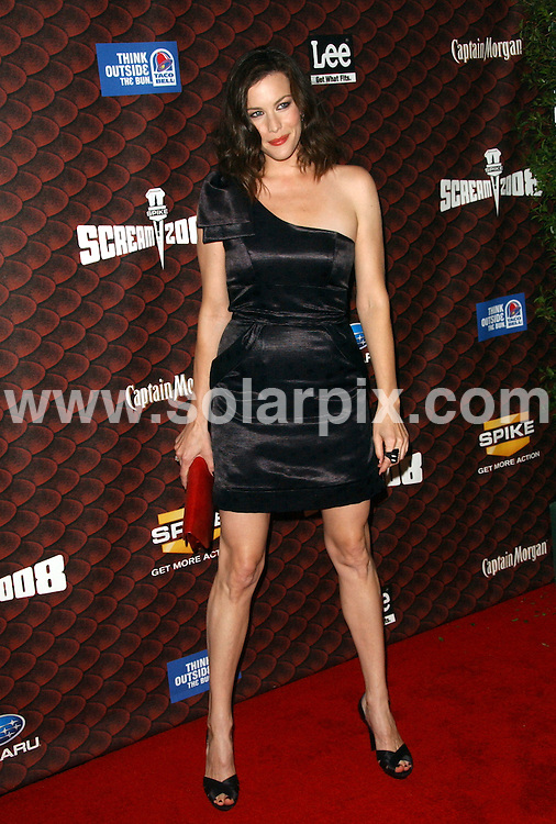 """**ALL ROUND PICTURES FROM SOLARPIX.COM**.**SYNDICATION RIGHTS FOR UK, SPAIN, PORTUGAL, AUSTRALIA, S.AFRICA & DUBAI (U.A.E) ONLY**.arrivals for Spike TV's """"Scream 2008"""" at the Greek Theater, Griffith Park, California, USA. 18th October 2008..This pic: Liv Tyler..JOB REF: 7640 PHZ (Ortega)    DATE: 18_10_2008.**MUST CREDIT SOLARPIX.COM OR DOUBLE FEE WILL BE CHARGED* *UNDER NO CIRCUMSTANCES IS THIS IMAGE TO BE REPRODUCED FOR ANY ONLINE EDITION WITHOUT PRIOR PERMISSION*"""