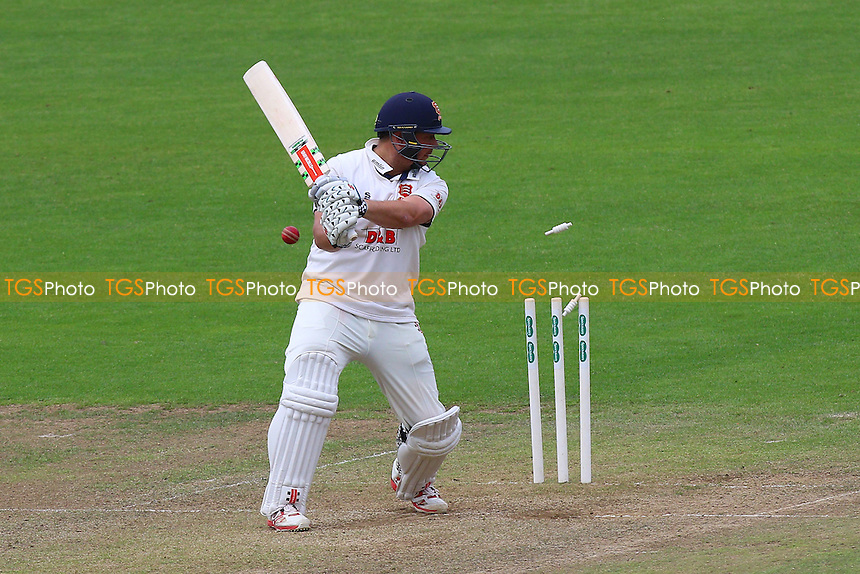 Jesse Ryder of Essex is bowled out by Graham Wagg during Glamorgan CCC vs Essex CCC, Specsavers County Championship Division 2 Cricket at the SSE SWALEC Stadium on 23rd May 2016