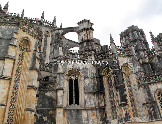 The Mosteiro Santa Maria da Vit&oacute;ria, (the Batalha Monastery) is a Dominican convent in Batalha, Portugal. The convent was built to thank the Virgin Mary for the Portuguese victory over the Castilians in the battle of Aljubarrota, in 1385. The 725-yr-old, late Gothic convent, is now an UNESCO World Heritage site.<br /> Photo by Mike Rynearson/Quest Imagery