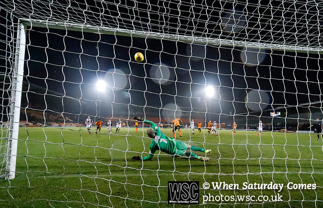Barnet 2 Morecambe 0, 16/12/2017. The Hive, League Two. Barnet's John Akinde puts a penalty over the bar. Photo by Paul Thompson.