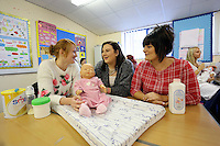 Pictured: Child Care course. Tuesday 23 September 2014<br /> Re: Cardiff and Vale College, Barry Campus.