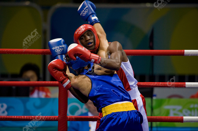 Men's Light Boxing Quarterfinal, Yordenis Ugas (Cuba) in red defeats Georian Popescu (Romania), Workers' Gymnasium, Summer Olympics, Beijing, China, August 19, 2008