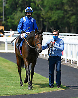 Winner of The AJN Steelstock Kentford British EBF Novice Stakes Minzaal ridden by Jim Crowley and trained by Owen Burrows is led into the Winners enclosure during Horse Racing at Salisbury Racecourse on 9th August 2020