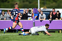 Matt Banahan of Bath Rugby scores a try in the first half. Pre-season friendly match, between Bristol Rugby and Bath Rugby on August 12, 2017 at the Cribbs Causeway Ground in Bristol, England. Photo by: Patrick Khachfe / Onside Images