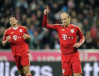 FUSSBALL   1. BUNDESLIGA  SAISON 2011/2012   15. Spieltag   03.12.2011 FC Bayern Muenchen - SV Werder Bremen        JUBEL Torschuetze  Arjen Robben (FC Bayern Muenchen)