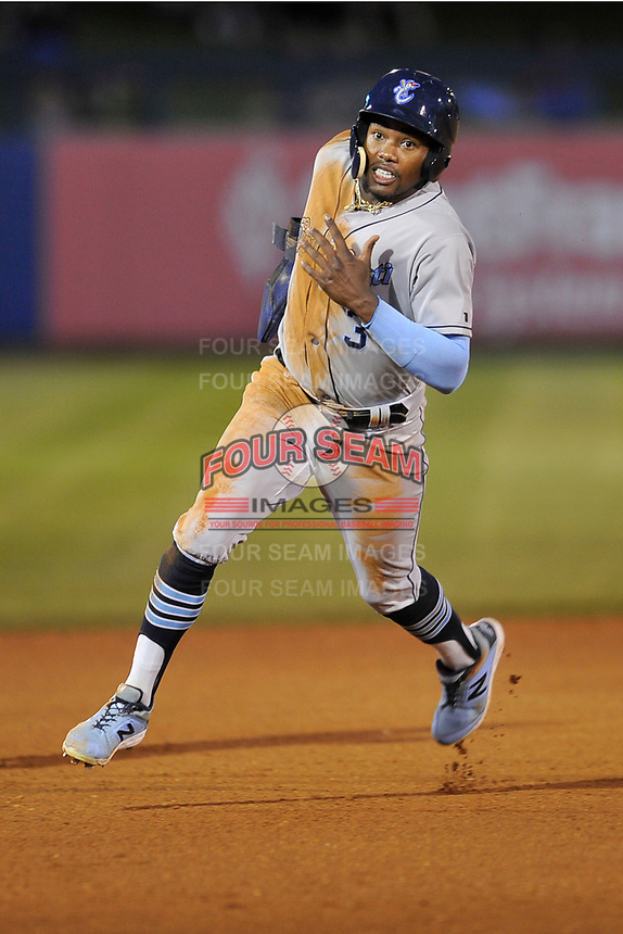 Corpus Christi Hooks center fielder Ronnie Dawson (3) in action against the Tulsa Drillers at Oneok Stadium on May 4, 2019 in Tulsa, Oklahoma.  The Hooks won 9-7.  (Dennis Hubbard/Four Seam Images)