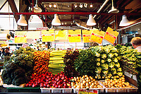 Granville Island Public Market, Vancouver, BC, British Columbia, Canada - Fresh Vegetables for Sale at Farmer's Stall