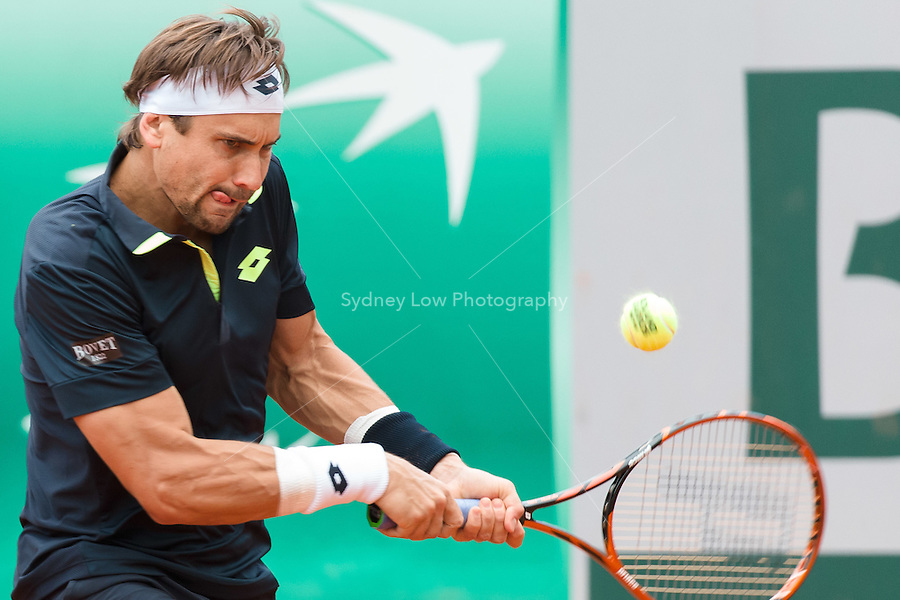 May 26, 2015: David Ferrer (ESP) in action in a 1st round match against Lukas Lacko (SVK) on day three of the 2015 French Open tennis tournament at Roland Garros in Paris, France. Sydney Low/AsteriskImages