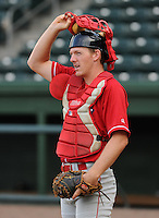 Catcher John Hill (14) of the Lakewood BlueClaws prior to a game against the Greenville Drive on the Drive's Opening Day, April 5, 2012, at Fluor Field at the West End in Greenville, South Carolina. (Tom Priddy/Four Seam Images)