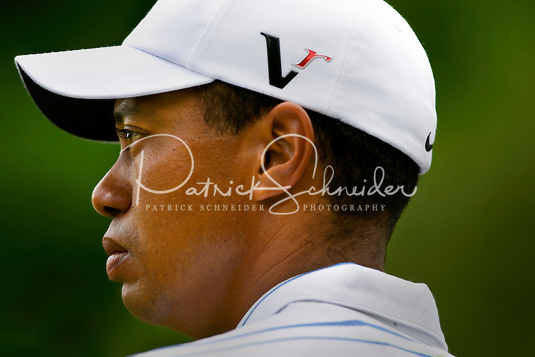 Golfer Tiger Woods assesses the course during the Quail Hollow Championship golf tournament 2009. The event, formerly called the Wachovia Championship, is a top event on the PGA Tour, attracting such popular golf icons as Tiger Woods, Vijay Singh and Bubba Watson. Photo from the first round in the Quail Hollow Championship golf tournament at the Quail Hollow Club in Charlotte, N.C., Thursday, April 30, 2009.