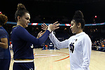 CHARLOTTESVILLE, VA - FEBRUARY 15: Notre Dame's Kathryn Westbeld (left) and Mychal Johnson (right). The University of Virginia Cavaliers hosted the University of Notre Dame Fighting Irish on February 15, 2018 at John Paul Jones Arena in Charlottesville, VA in a Division I women's college basketball game. Notre Dame won the game 83-69.