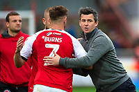 Fleetwood Town manager Joey Barton congratulates Fleetwood Town's Wes Burns<br /> <br /> Photographer Richard Martin-Roberts/CameraSport<br /> <br /> The EFL Sky Bet League One - Fleetwood Town v Shrewsbury Town - Saturday 13th October 2018 - Highbury Stadium - Fleetwood<br /> <br /> World Copyright &not;&copy; 2018 CameraSport. All rights reserved. 43 Linden Ave. Countesthorpe. Leicester. England. LE8 5PG - Tel: +44 (0) 116 277 4147 - admin@camerasport.com - www.camerasport.com