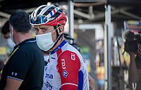 'combatif du jour' Matthieu Ladagnou (FRA/Groupama-FDJ) backstage behind the finish podium<br /> <br /> Stage 11 from Châtelaillon-Plage to Poitiers (168km)<br /> <br /> 107th Tour de France 2020 (2.UWT)<br /> (the 'postponed edition' held in september)<br /> <br /> ©kramon