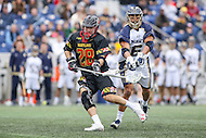 Annapolis, MD - February 11, 2017: Navy Midshipmen Greyson Torain (6) tries to knock the ball out of Maryland Terrapins Matt Neufeldt (28) stick during game between Maryland vs Navy at  Navy-Marine Corps Memorial Stadium in Annapolis, MD.   (Photo by Elliott Brown/Media Images International)