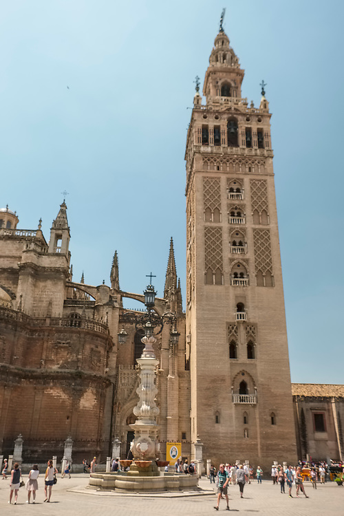 The 330 foot high Giralda Bell Tower presides over the square in the heart of Sevilla.