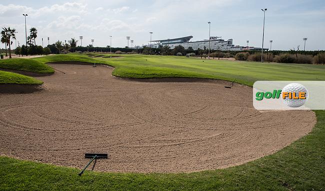 5th fairway bunker, The Track at The Meydan Golf Club, Dubai, United Arab Emirates.  31/01/2016. Picture: Golffile | David Lloyd<br /> <br /> All photos usage must carry mandatory copyright credit (&copy; Golffile | David Lloyd)