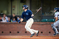 Mobile BayBears right fielder Wade Wass (10) follows through on a swing during a game against the Pensacola Blue Wahoos on April 25, 2017 at Hank Aaron Stadium in Mobile, Alabama.  Mobile defeated Pensacola 3-0.  (Mike Janes/Four Seam Images)
