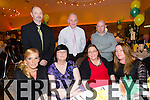 Front l-r Geraldine Kelly, Kitty Morley, Helen Bailey, Siobhan Fitzgerald.  Back l-r Mark Quilter, Joe Brown, T.J. Cronin  Lixnaw GAA club annual social at Ballyroe Heights hotel on Saturday