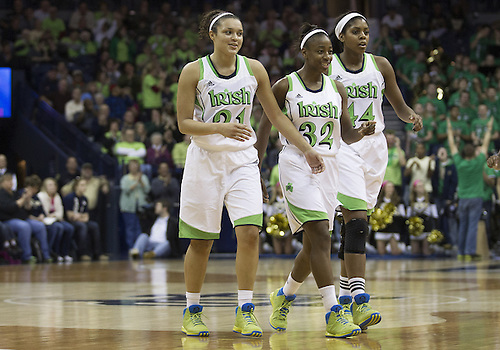 January 13, 2013:  Notre Dame players Kayla McBride Jewell Loyd (32), and Ariel Braker (44) celebrate during NCAA Basketball game action between the Notre Dame Fighting Irish and the Rutgers Scarlett Knights at Purcell Pavilion at the Joyce Center in South Bend, Indiana.  Notre Dame defeated Rutgers 71-46.