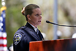 Public Safety Chief Michele Freeman, with the Las Vegas Department of Public Safety Division of Corrections, speaks at the 22nd annual Nevada Law Enforcement Officers Memorial cermony in Carson City, Nev., on Thursday, May 2, 2019. <br /> Photo by Cathleen Allison/Nevada Momentum