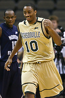 February 08, 2011:   Jacksonville Dolphins forward Ayron Hardy (10) during Atlantic Sun Conference action between the Jacksonville Dolphins and the North Florida Ospreys at Veterans Memorial Arena in Jacksonville, Florida.  Jacksonville defeated North Florida 71-69.